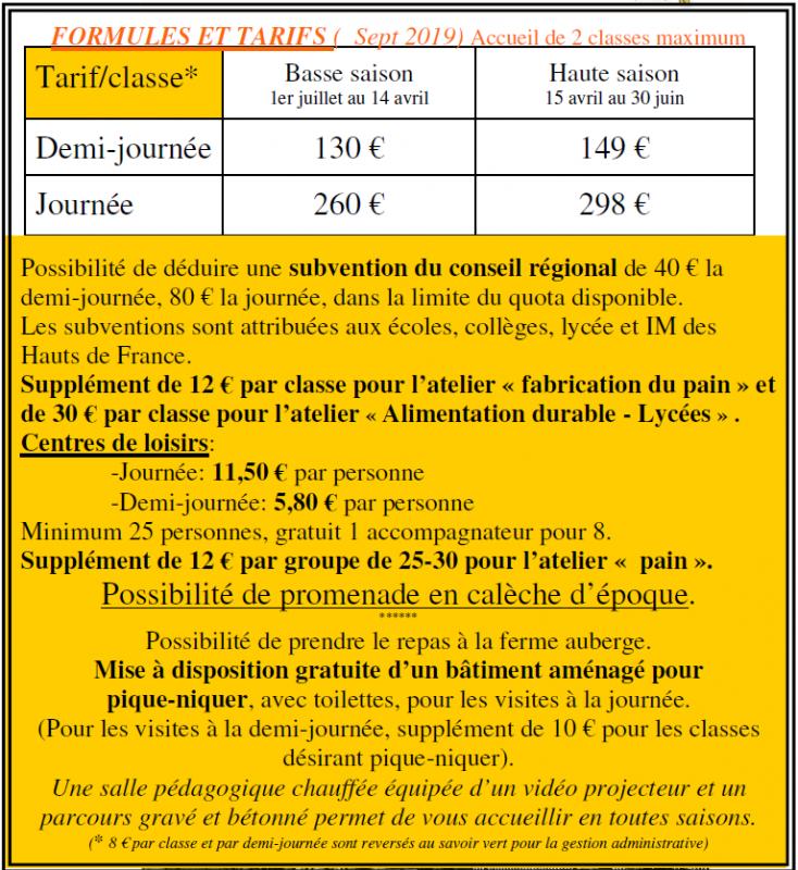 Capture tarifs ferme pedagogique sept 2019